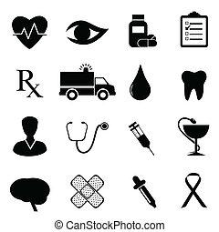 medico, set, salute, icona