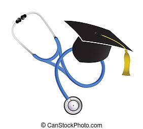medico, stetoscopio, graduazione, illustrazione