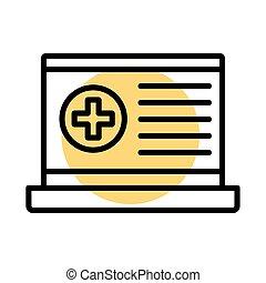 medico, stile, simbolo, croce, laptop, linea