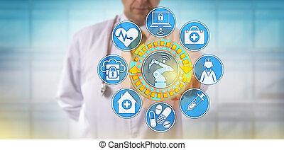 medico, via, app, robot, chirurgico, funzionante, maschio
