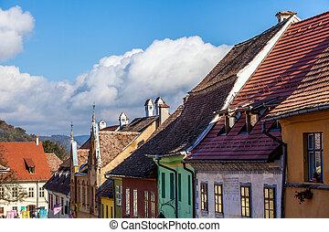 medievale, tedesco, founded, strada, transylvania, sighisoara, colonists, vista