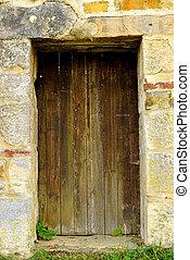 medievale, vecchio, porta, parete