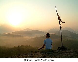 meditare, do, uomo