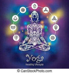 meditare, donna, colore bandiera, yoga, loto