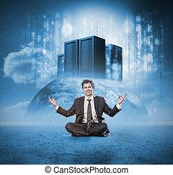 meditare, felice, uomo affari