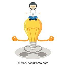 meditare, idea, uomo affari