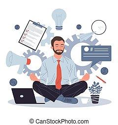 meditare, posizione, loto, uomo rilassa, affari