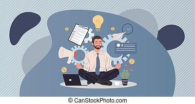 meditare, uomo, posizione, loto, rilassante, affari