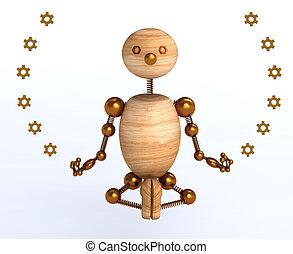 meditazione, legno, 3d, uomo