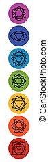 meditazione, sette, chakra, yoga, set, symbols.