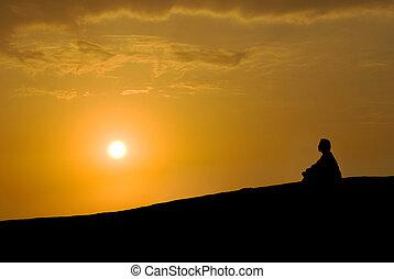 meditazione, tramonto, sotto