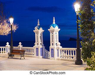 mediterraneo, benidorm, balcon, alicante, tramonto, spagna