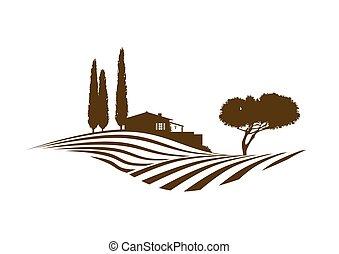 mediterraneo, paesaggio rurale, vettore
