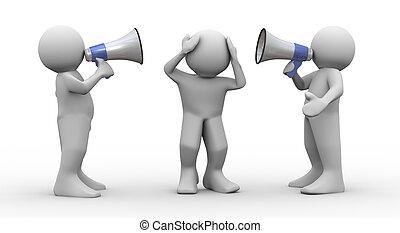 megafono, annuncio, persone, 3d