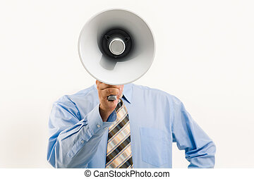 megafono, attraverso, parlante