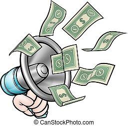 megafono, concetto, soldi