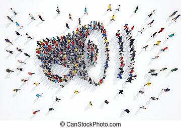 megafono, interpretazione, persone, 3d