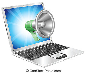 megafono, laptop, concetto, icona