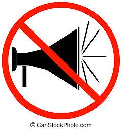 megafono, non, segno, rosso, conceduto