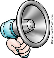 megafono, tenendo mano