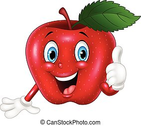 mela, abbandono, pollici, cartone animato, rosso