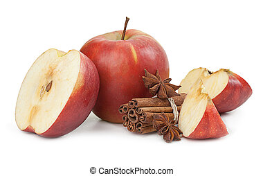 mela, anice, isolato, cannella, fondo, bianco