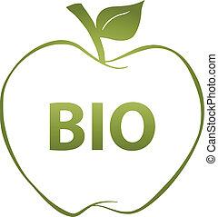 mela, bio, verde, testo