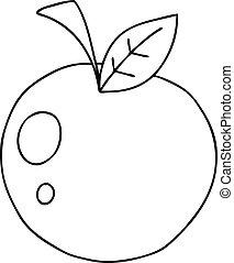 mela, cartone animato, quirky, rivestire disegno, rosso