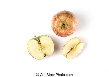 mela, intero, fondo, bianco rosso, affettato