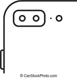 mela, iphone, nero, linea sottile, icona