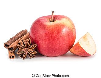 mela, isolato, cannella, fondo, bianco, anis