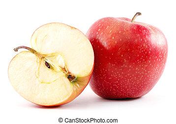 mela, isolato, mezzo, bianco, relativo, rosso