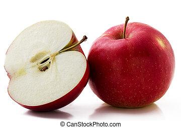 mela, isolato, uno, fondo, mezzo, bianco rosso