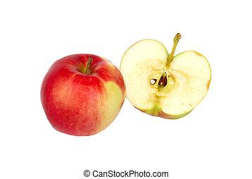 mela, isolato, white., mezzo, fresco, rosso