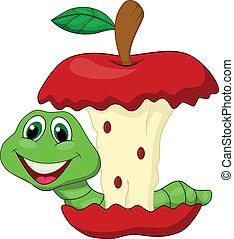 mela mangia, verme, cartone animato, rosso