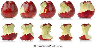 mela, mangiato, sequenza