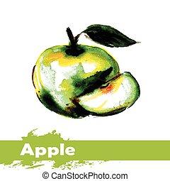 mela, mano, acquarello, fondo., frutta, disegnato, bianco, pittura
