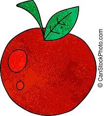 mela, mano, quirky, disegnato, cartone animato, rosso