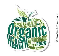 mela, organico, disegno, etichetta