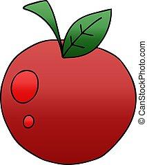 mela, pendenza, quirky, ombreggiato, cartone animato, rosso