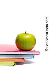 mela, quaderni, verde