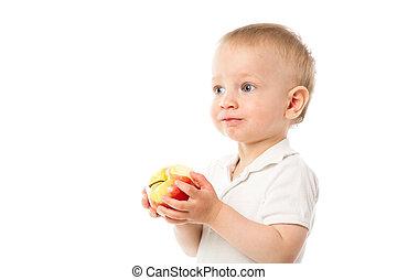 mela, rosso, bambino