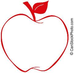 mela, rosso, contorno