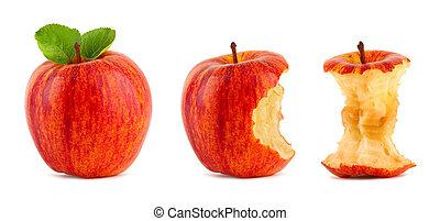 mela, rosso, fila