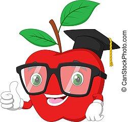 mela, rosso, forma, graduazione, carattere