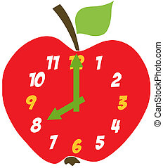 mela, rosso, orologio