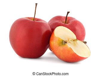 mela, rosso, succoso