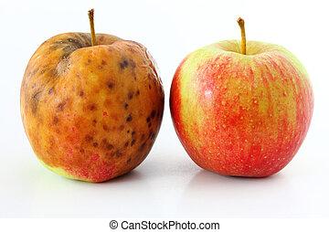 mela, sano, marcio, mele, fondo, guastato, bianco