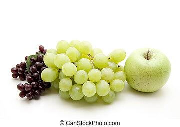 mela, uva, vino