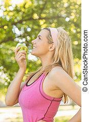 mela, verde, adattare, presa a terra, biondo